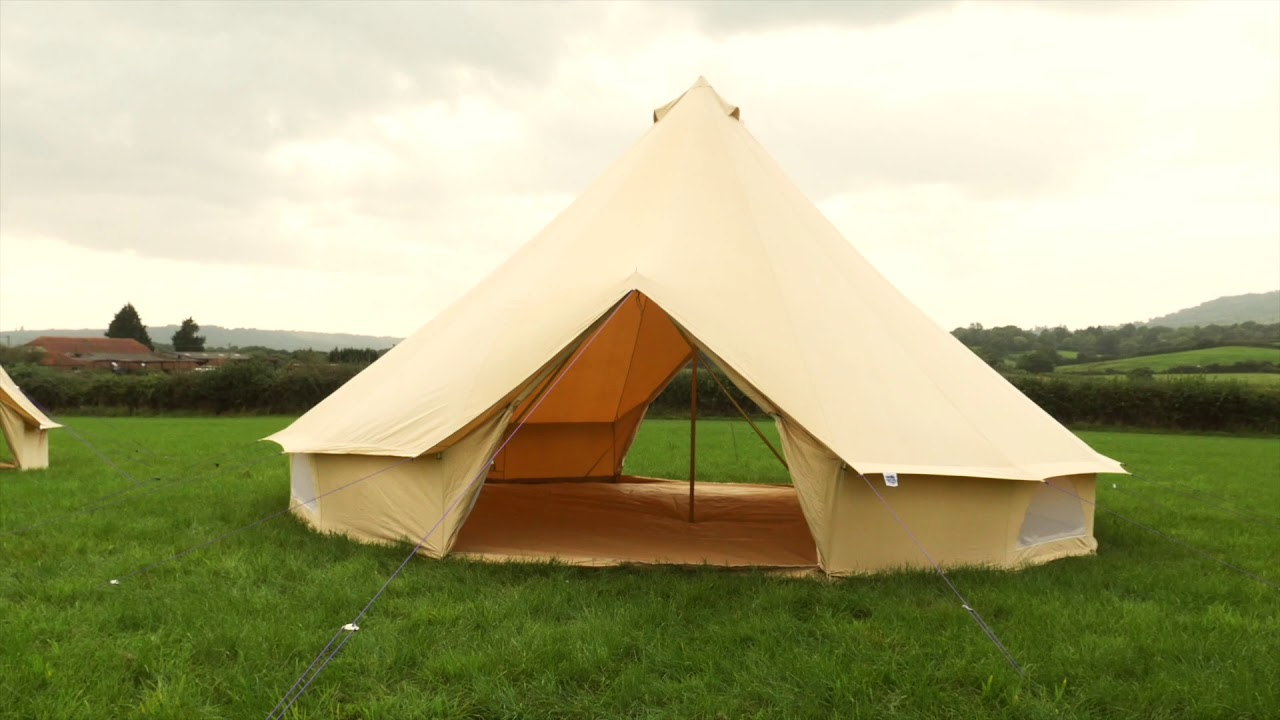 7m Sandstone Double Door Bell Tent by Boutique C&ing & 7m Sandstone Double Door Bell Tent by Boutique Camping - YouTube