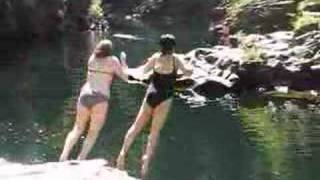 Jessica and Molly Leap Into the Lewis River