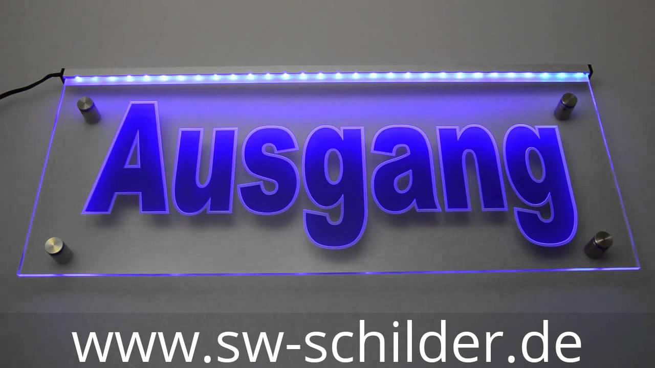 led ausgang schild graviert folie sw acrylglas plexiglas youtube. Black Bedroom Furniture Sets. Home Design Ideas