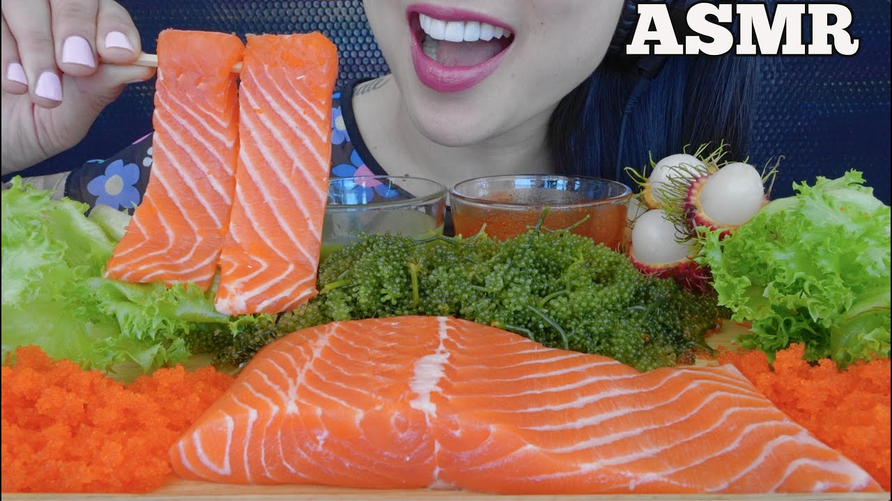 ASMR RAW SALMON SLAB + SEAGRAPES + GREEN SEAFOOD SAUCE (EATING SOUNDS) NO TALKING | SAS-ASMR