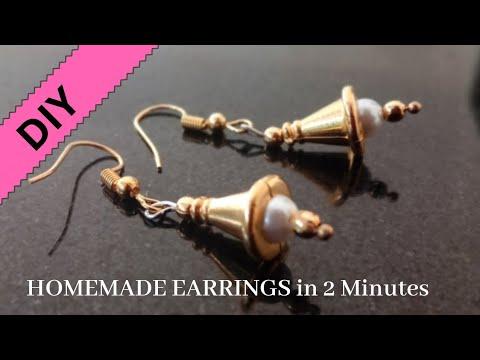 Simplest Homemade earrings tutorial   Craft India   DIY