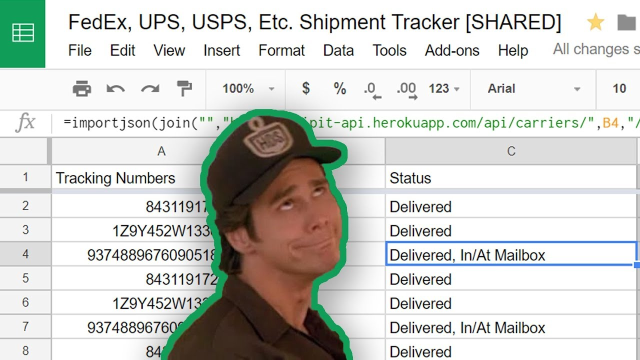 Track FedEx and UPS Packages in Google Sheets 📦