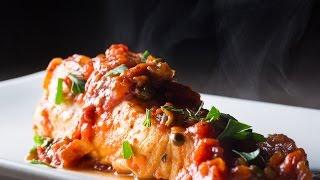 Tomato Sauce Poached Halibut