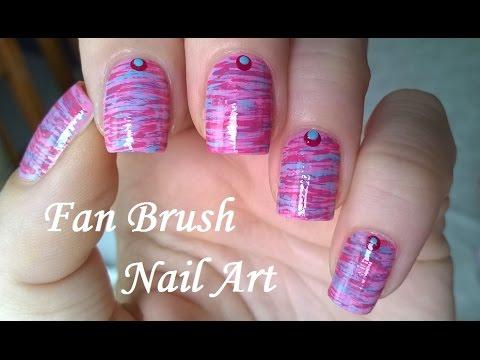 Fan Brush Nail Art Tutorial Pink Blue Striped Nails Design Youtube