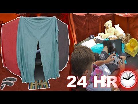 24HR TRAMPOLINE FORT CHALLENGE! (Dodgeball & Video Games)