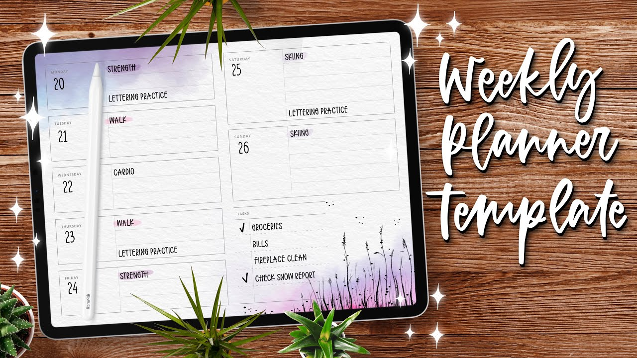Digital BULLET JOURNAL setup: Create a weekly spread template with Affinity Designer
