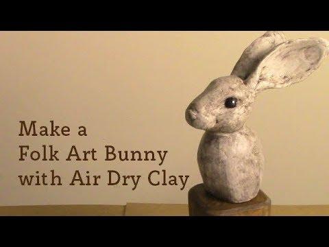 Make A Folk Art Bunny with Air Dry Clay