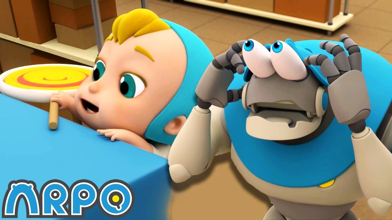 Arpo the Robot  The Great Baby Candy CHASE!!   NEW VIDEO   Funny Cartoons for Kids   Arpo and Daniel