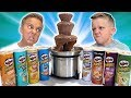 GIANT CHOCOLATE FOUNTAIN Game with HUGE PRINGLES CHIP SURPRISE | Candy Surprise Egg Hunt