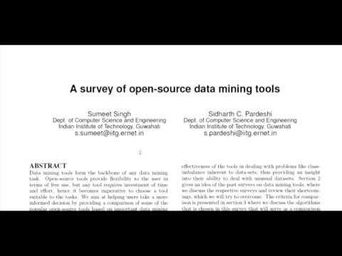 A Survey Of Open-source Data Mining Tools - Survey Bots