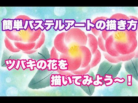 【簡単パステルアートの描き方】季節の花 ツバキの花を描いてみよう~!
