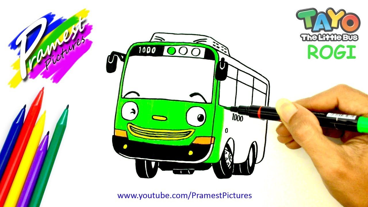How To Draw Rogi Tayo The Little Bus Coloring Pages