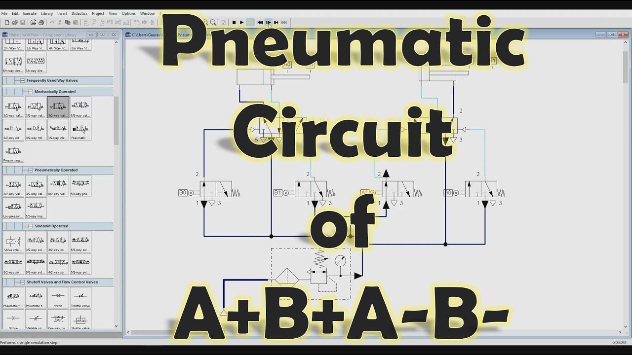 FluidSIM] Mechatronics - How to make Pneumatic Circuit of A+B+A-B ...
