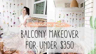 DIY TINY BALCONY MAKEOVER FOR UNDER $350 | FLOWER WALL