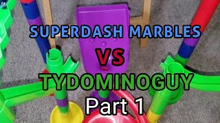 (part 1) EPIC MARBLE ELIMINATION RACE | CHANNEL BATTLES | TYDOMINOGUY versus SUPERDASH MARBLES