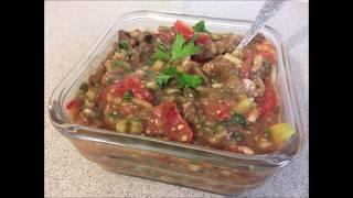 114. Салат из запеченных баклажанов с помидорами