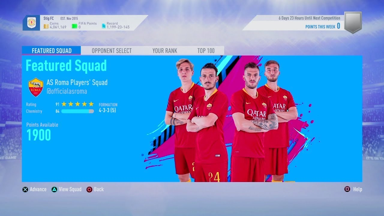 Fifa 19 Squad Battles Rewards fifa 19 squad battles rewards june 10th and as roma players' featured squad