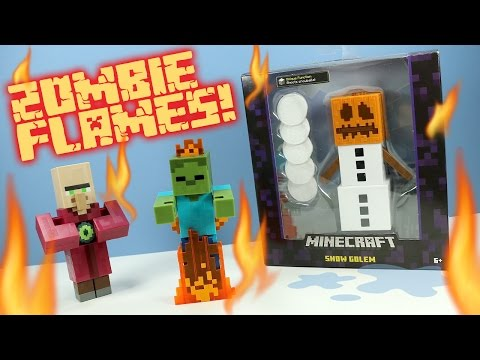Minecraft Survival Mode Snow Golem Villager & Zombie in Flames Toys Mattel