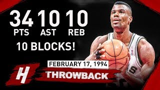 David Robinson EPIC Quadruple Double Full Highlights vs Pistons 1994.02.17 - MAKES HISTORY!