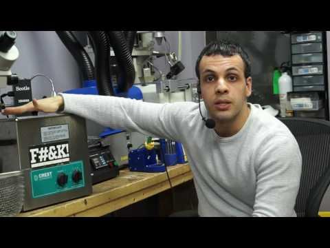 """Ultrasonic cleaner for repairing Macbook logic boards."" date:11-12-14"