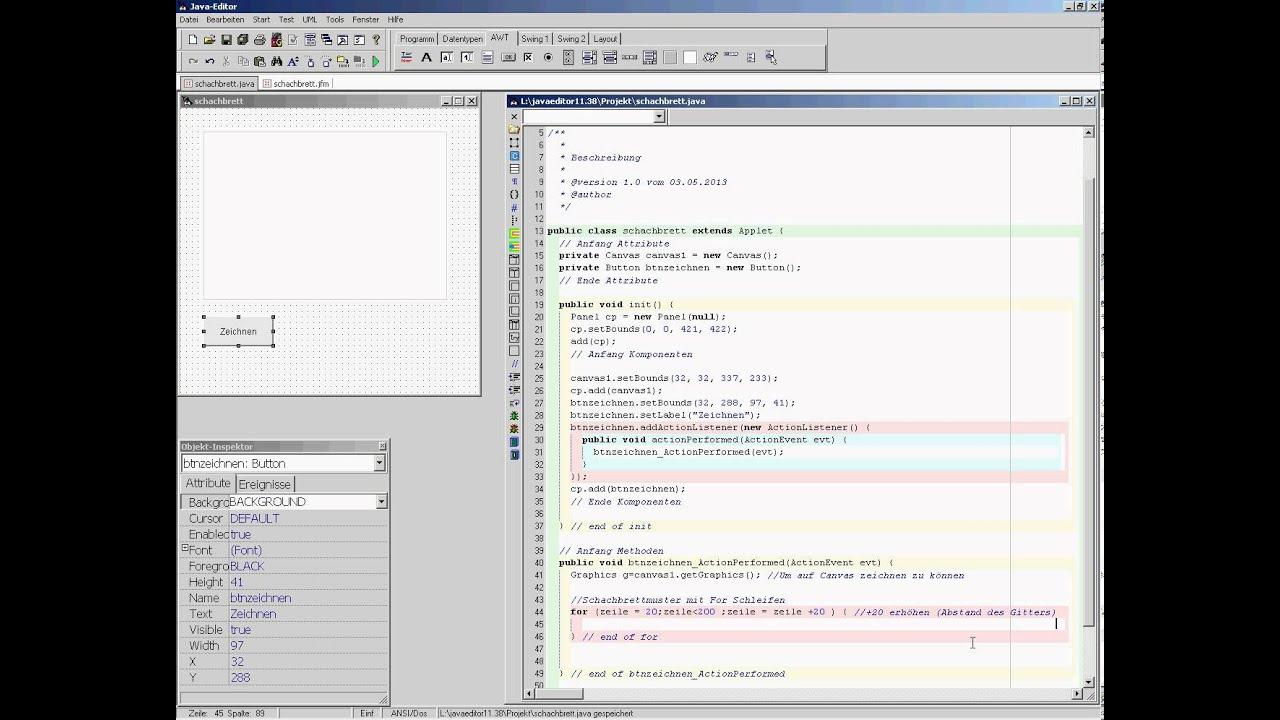 JavaEditor - Schachbrett (1/2) - YouTube