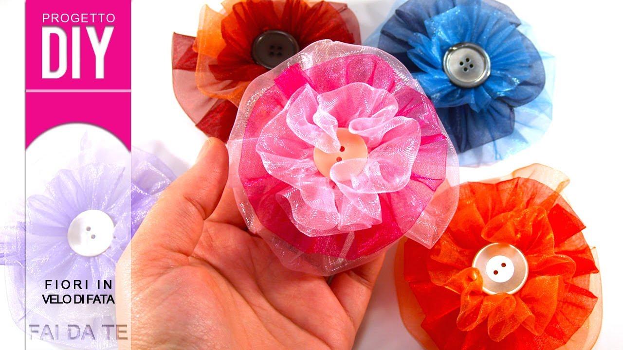 Decorazione fai da te tutorial fiori in velo di fata con - Mobiletti fai da te ...