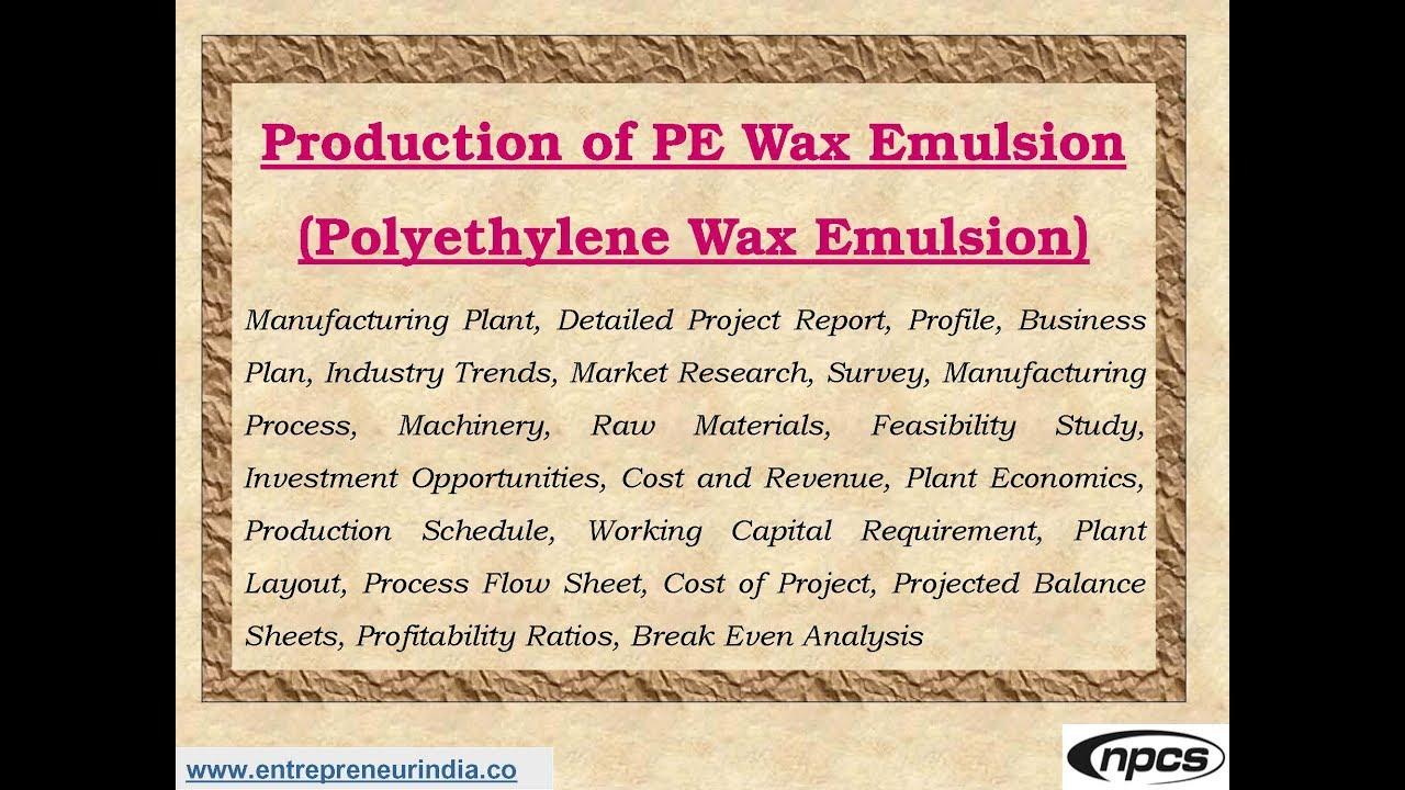 Production of PE Wax Emulsion (Polyethylene Wax Emulsion)