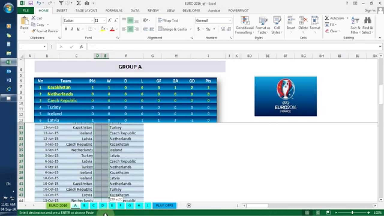 EURO 2016 qualification in excel - YouTube