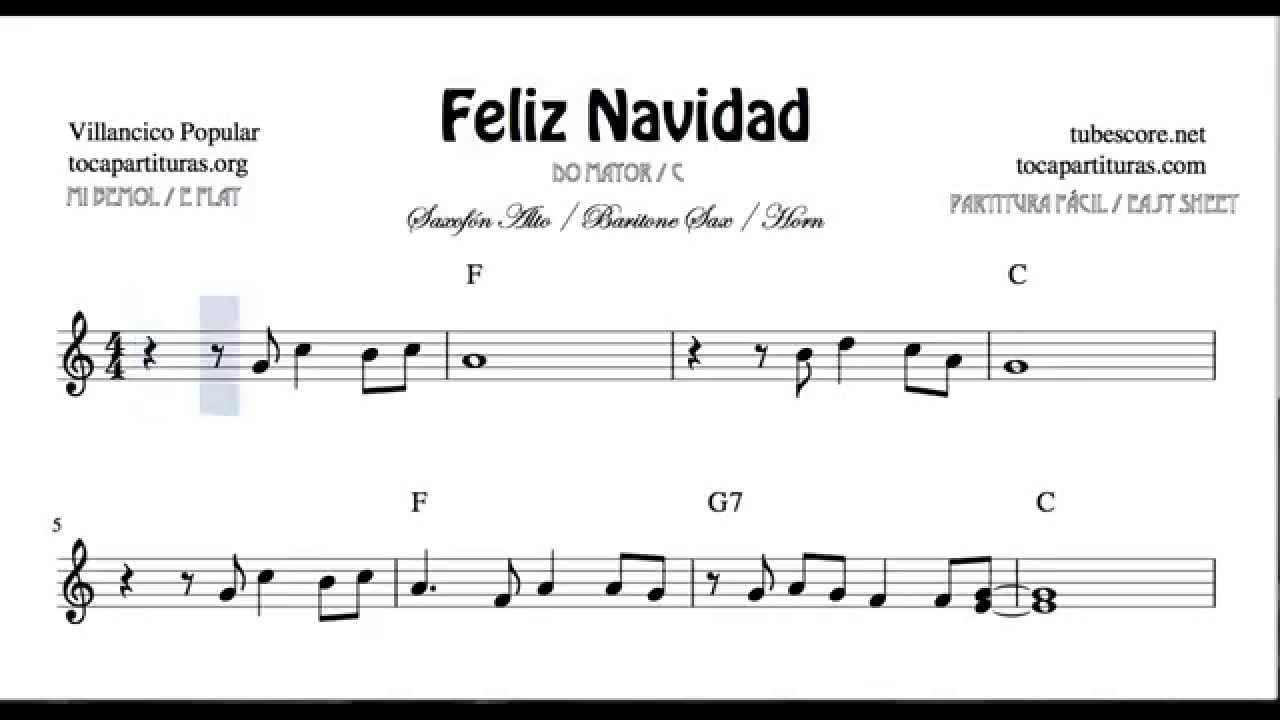 I Wanna Wish You a Merry Christmas Sheet Music for Alto Sax Horn and Baritone Sax Feliz Navidad ...