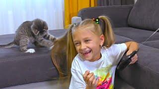 Мой Смешной Котенок и Пчела, которая не умеет летать! Видео для детей