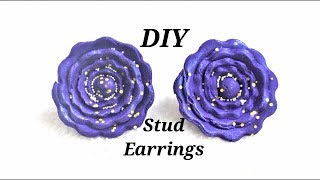 DIY  Simple And Easy-To-Make Flower stud Earrings With Polymer Clay | Jewelry Making Tutorial