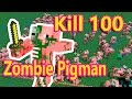 Kill 100 Zombie Pigman. Mincraft game.