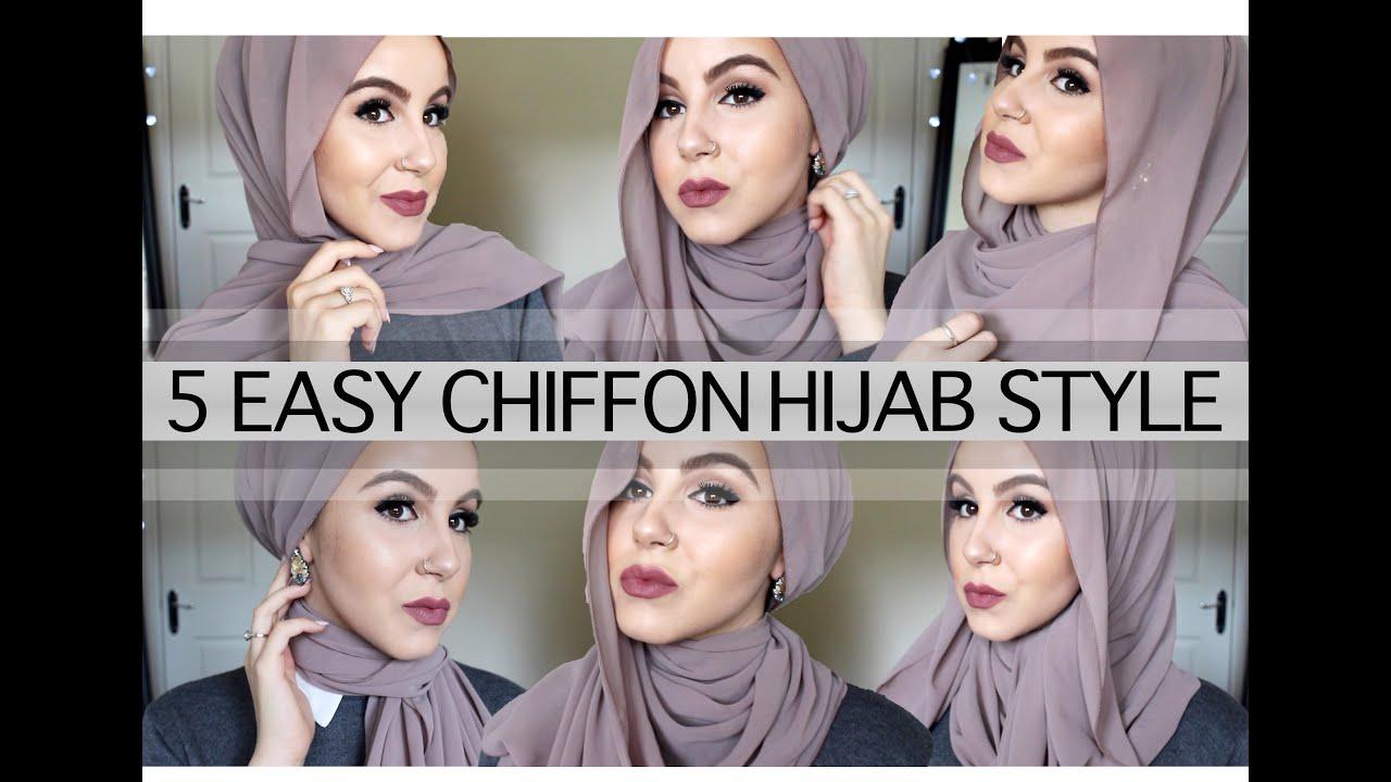 5 Easy Chiffon Hijab Style♡ Using No Pins Amina Chebbi Youtube
