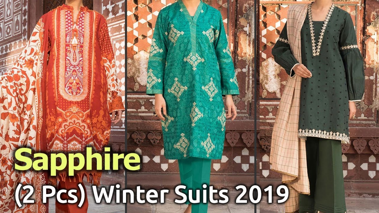 [VIDEO] - New SAPPHIRE (2 PCS) Designer Winter Dresses 2019 | Latest Pakistani Winter Collections 1