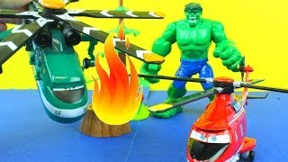 Disney Planes Fire & Rescue Windlifter & Blade Ranger Helicopters! Hulk is on fire!!