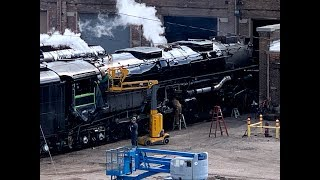 The Big Boy 4014 steam engine blowing its whistle the first ti…