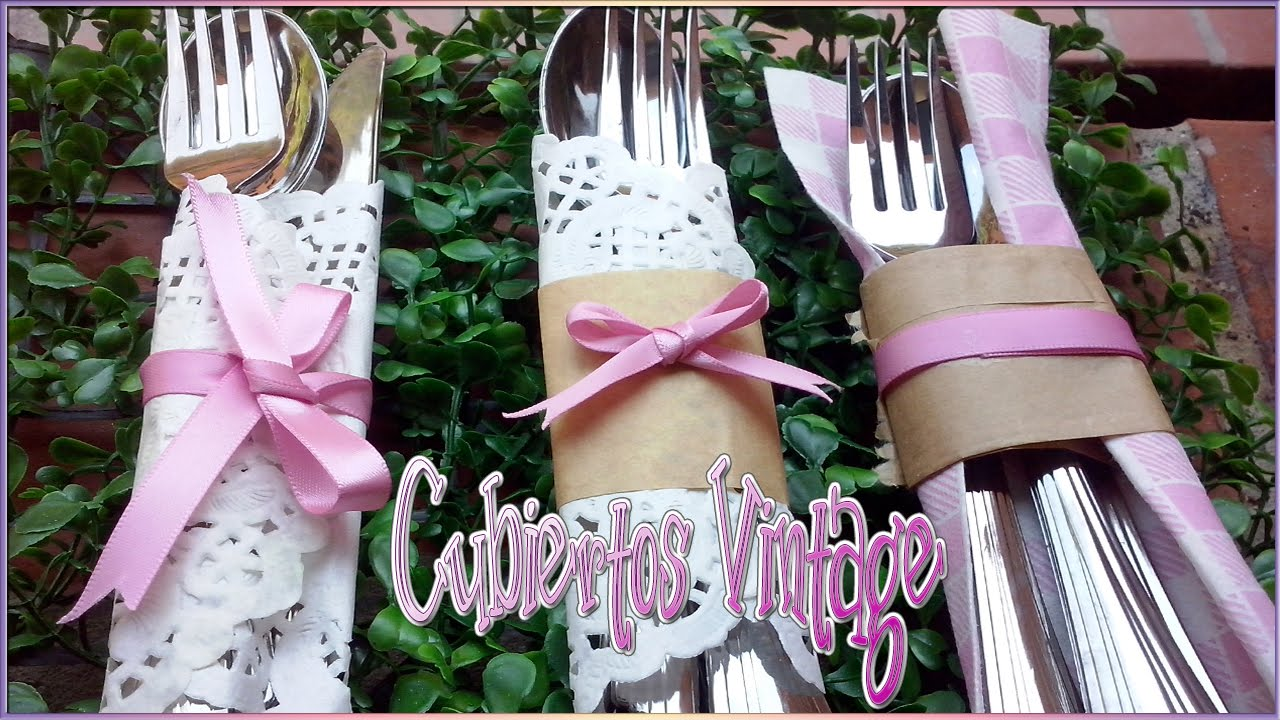 Diy decora tus cubiertos estilo vintage con estas ideas - Como decorar una servilleta de papel ...