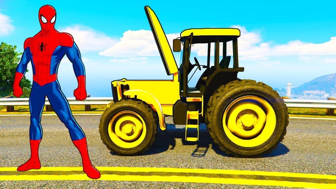 Spiderman r parations tracteur jaune voitures dessin anim avec des camions pour enfants youtube - Dessin anime avec tracteur ...