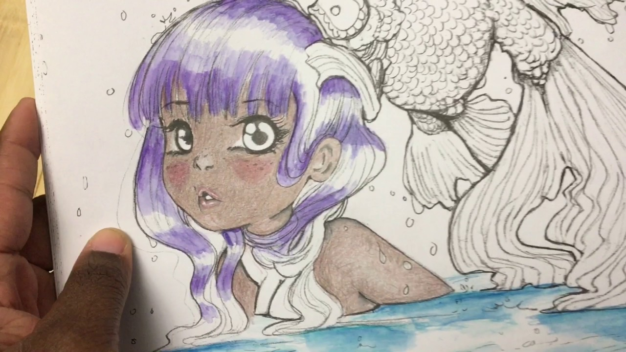 pop manga coloring book by camilla derrico adult coloring review flipthrough and medium test youtube - Manga Coloring Book