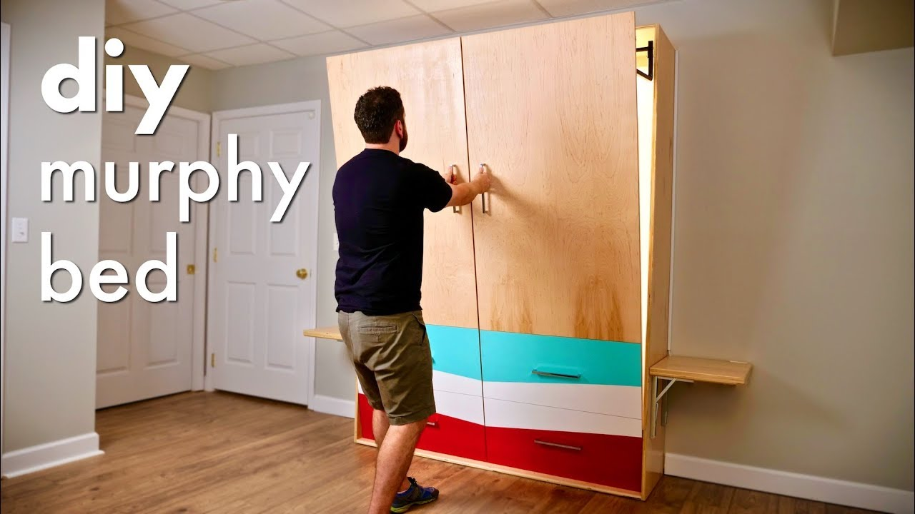Diy Murphy Bed With Alexa Controlled Led Lights Folding Nightstands