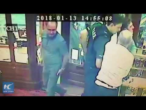 CCTV: Shopper tackles thief during jewelry store robbery in UK