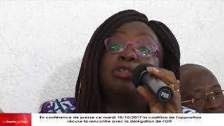 La coalition de l'opposition togolaise récuse la délégation de l'OIF à cause d'Aïchatou Mindaoudou
