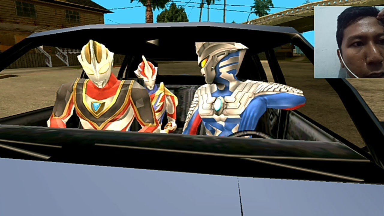 Ultraman Zero naik mobil balap bersama teman teman ...
