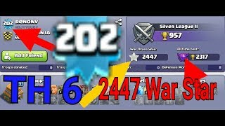 CLASH OF CLANS. || THIS IS INSANE || TOWN HALL 6 2450 WAR STARS AND 202 XP .OMG!!!!!
