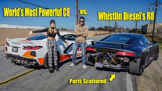 Whistlin Diesel New 1400HP R8 Sends Parts Flying Racing My 1000HP Twin Turbo C8