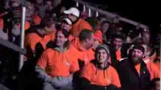 Bonfire celebrating Princeton football victories lights up cold November night