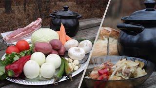 РЁБРА с ОВОЩАМИ в ГОРШОЧКЕ на УГЛЯХ Рецепт свиных рёбрышек с овощами eng sub