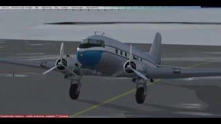 FSX  Симулятор гражданской авиации  DC 3 Полёт по маршруту.