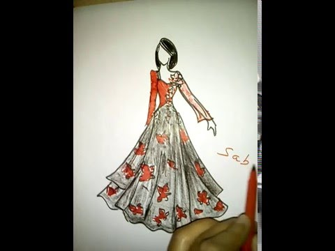 How to draw a girl beautiful dress fashion illustration youtube