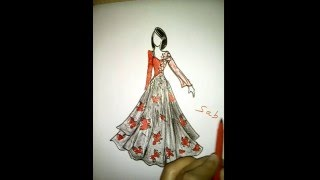 How to draw a girl. beautiful dress.fashion illustration.